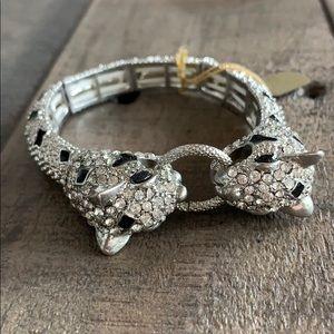 Leopard silver adjustable bracelet